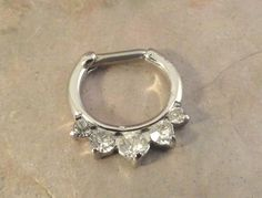 14 or 16 Gauge Crystal Septum Ring Clicker Bull Ring Nose Daith Piercing