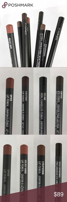 MAC Lip and Eye Pencils makeup 8 bundle of MAC Lip liners and Eye pencils OR 1 stick for $13, 4 sticks for $45  Lips: - stripdown  - boldly bare - chestnut  - spice x2  Eye: - Rich Experience  - Feline - Coffee  Tested on paper but not used *  Let me know if interested or have questions :) MAC Cosmetics Makeup Lip Liner