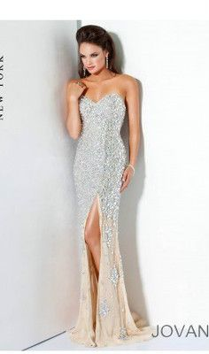 Jovani 4247 Shimmering Evening Gown Silver/Nude