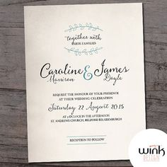 Custom Simple Clean Romantic Vintage Weeding Invitation Printed OR Printable