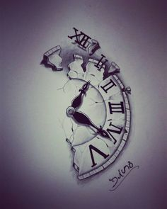 I want something like this without the broke piece at the top with 'time is nothing' going along the jagged edge on my forearm is part of Time tattoos - Tattoo Sketches, Tattoo Drawings, Body Art Tattoos, Sleeve Tattoos, Tatoos, Clock Tattoo Sleeve, Broken Clock Tattoo, Sketch Drawing, Tattoo Clock