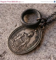 On Sale 1973 Chinese Goddess Necklace with Antique African Ring