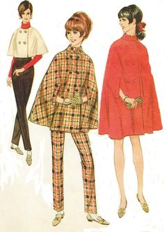 1960s McCalls Sewing Pattern 9028 Womens Mod Cape in Three Lengths and Tapered Pants Size 10 Bust 31