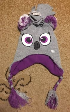 e46a72df3dc New Girls Beanie Hat Gloves Matching Set Character Design Silver Purple