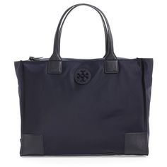 Tory Burch 'Ella' Packable Nylon Tote (10,225 DOP) ❤ liked on Polyvore featuring bags, handbags, tote bags, tory navy, handbags totes, navy tote, navy tote bag, foldable tote i zip top tote bag