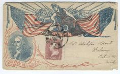 A very scarce Civil War Patriotic Cover/ Envelope featuring George Washington in the lower left portion of the cover along with powerful image of Lady Liberty, cannons and Union flags.