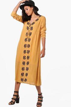 boohoo Casey Embroidered Midi Dress