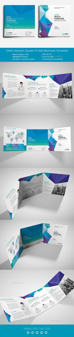 Clean Abstract Square Tri-fold Brochure Template #design Download: http://graphicriver.net/item/clean-abstract-square-trifold-brochure/12905169?ref=ksioks