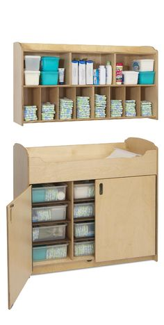 Serenity Changing Set - Changing Table with Storage Bins and ... Extremely efficient if ugly.