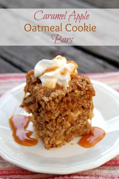 Caramel Apple Oatmeal Cookie Bars #recipe via @akitchenaddict National #Cookie Month