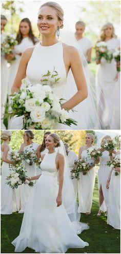 White satin dress, wedding style, a-line gown, high neckline, bridesmaids in white // Margot Landen