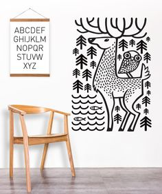 Wall decal / Forest animals / deer and owl / animals / by DURIDO