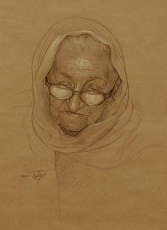 Pencil Drawings Portrait of an elder woman (Gallery--Mehrdad--Jamshidi) Pencil Drawing Tutorials, Pencil Art Drawings, Realistic Drawings, Art Drawings Sketches, Portrait Sketches, Pencil Portrait, Portrait Art, Life Drawing, Figure Drawing