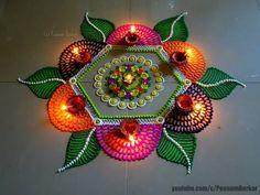 Beautiful multicolored rangoli for diwali | Easy and innovative rangoli designs by Poonam Borkar - YouTube