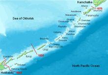 Kurilska ostrva-vulkanski arhipelag u ruskoj Sahalinskoj oblasti. Prostiru se dužinom od 1.300 kilometara od japanskog ostrva Hokaido do poluostrva Kamčatka, razdvajajući Ohotsko more od severozapadnog Pacifika. Ovom arhipelagu pripada 56 ostrva i više stena. Na njemu postoji 39 aktivnih vulkana. Površina ostrva je 10.355 km². Najviši vrh je vulkan Alaid (2339 metara) na ostrvu Atlasov. Ovaj vulkan je u obliku gotovo savršene kupe.Najveća ostrva (od severa ka jugu): Šumšu, Atlasov…