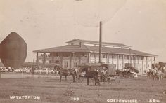 1911 Coffeyville KS Natatorium (and hot air baloon? Coffeyville Kansas, Rare Historical Photos, Gazebo, The Past, Swimming, Outdoor Structures, In This Moment, History, City