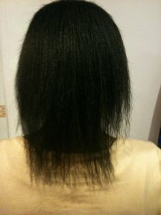 The back of the client's hair before my Hibernated Extensions
