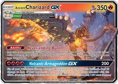 Ancient Charizard GX Custom Pokemon Card Pokemon Tips, Fire Pokemon, Pokemon Memes, Fake Pokemon Cards, Pokemon Cards Legendary, Charmander Charmeleon Charizard, Cool Pokemon Wallpapers, Dinosaur Cards, Pokemon Trading Card