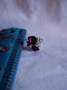 Sarah Coventry Love Story Adjustable Ring February Birthstone two Purple Hearts - for sale at Wenzel Thrifty Nickel ecrater store