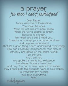 Well if i didnt need to read this right now! :) when I can't understand God's plan: