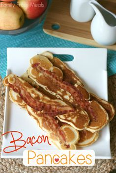 BACON! You would LOVE these. I wish i could make them for you. There's bacon inside those pancakes! I would have the peanut butter on the table ;-)
