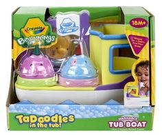 Crayola Beginnings Tub Boat by Crayola. $9.49. Tadoodles tub crayons are ergonomically designed for a child's first palm grasp.. Tadoodles in the tub. Creativity in the tub. Washable bath crayons. Promotes dramatic play. From the Manufacturer                Crayola Beginnings Tub Boat develops gross and fine motor skills as well as eye-hand coordination.