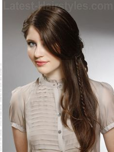 Learn how this romantically swept hairstyle with peekaboo braid in just a few simple steps:    http://www.latest-hairstyles.com/trends/oval-faces.html