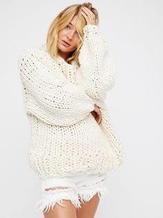 Summer Sweater   Cozy up in this this super chunky cotton sweater handmade in the USA with an easy, effortless look.