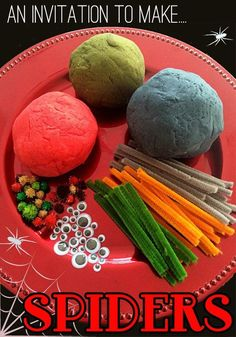 An spooky invitation to play! Make playdough spiders and webs