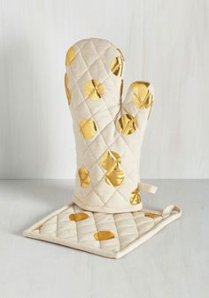 Pizzazz Good as Gold Pot Holder Set - Gold, Polka Dots, Good, Cotton, White