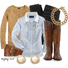 """""""Prepster"""" by taytay-268 on Polyvore. It's official, I need a camel crew neck pullover."""