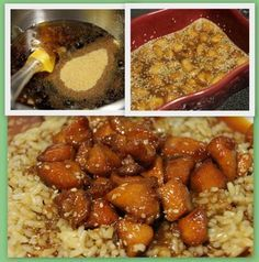 4 chicken tenderloins, cut into small pieces, 1/2 cup honey, 1/4 cup brown sugar, 2 tbsp soy sauce, 1 tbsp garlic powder, sesame seeds, to taste. Preheat oven to 325. In a small bowl, combine the honey, brown sugar, soy sauce, and garlic powder. Stir until well combined. Pour the sauce over the chicken in baking dish, cover with foil, and bake for an hour.Uncover, and sprinkle the chicken with sesame seeds. Bake, uncovered, for another 30 minutes.