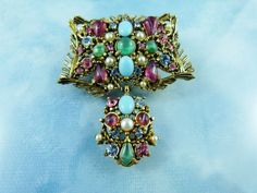 50% OFF ALL SHOP: Signed Hollycraft Glass Bead & Crystal Pin/Brooch