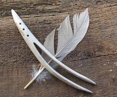 Organic Horn Hair Stick Tribal Deer Antler Tip Hair Fork Ethnic Fashion Carved Bone Steampunk. $48.00, via Etsy.