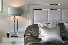 Soothing metallic tones and sumptous textures © Hill House Interiors Headboard Designs, Upholstery Bed, Headboards For Beds, Home Decor Bedroom, Home Bedroom, Bedroom Closet Design, Bedroom Bed Design, Bed Headboard Design, Bedroom Headboard