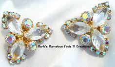 Vintage Aurora Borealis (AB) Rhinestone Earrings - Unfoiled Marquise. $27.00, via Etsy.