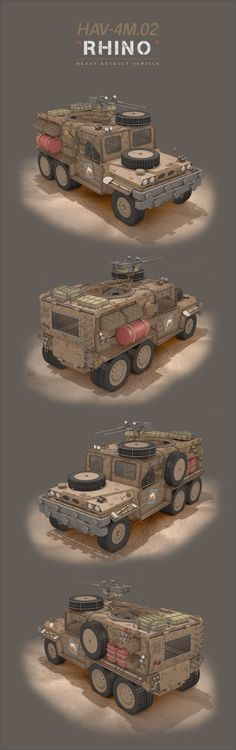 Heavy Assualt Vehicle - nickname RHINO View from all sides Programs used - Cinema & Adobe PhotoShop CC 2014 Rhino (all sides) Post Apocalypse, Nuclear Apocalypse, Post Apocalyptic Games, Fallout New Vegas, Futuristic Cars, Armored Vehicles, Art Background, Military Art, War Machine