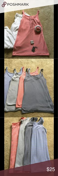 Bundle of 4 tank tops size M All 4 tanks are NWOT. Coral and white, black and white, soft gray and white, soft blue and white.  All from Gap size Med. 97% spandex and 3% spandex. Great to layer or to work out in. These Tanks were 28.00 each. Selling all 4 for 25.00. GAP Tops Tank Tops