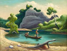 "Thomas Hart Benton (American): Oil Painting, ""The Narrows, Buffalo River (Arkansas)"" American Realism, American Artists, Thomas Hart Benton Paintings, American Scene Painting, Art Grants, Art Thomas, Social Realism, American Gothic, Art Moderne"