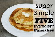 Mix dry ingredients ahead of time for diy pancake mix! Diy Pancake Mix, Homemade Pancake Syrup, Clean Recipes, Real Food Recipes, Yummy Food, Yummy Recipes, Five Ingredients, Recipe Using, Breakfast Recipes