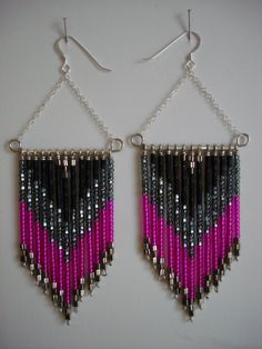 hot pink, sparkly grey, black, silver fringed chevron beaded wire earrings (Marilyn Earrings: spring/summer). $45.00, via Etsy.