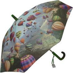 Galleria Sky Road Umbrella  This fun kids umbrella features colourful hot air balloons floating over a hilly landscape. Steel shaft and frame with durable fibreglass ribs. Curved plastic handle with name-tag and patented non-protruding T-shaped tips and pinch-proof runner for safety, manual opening and closing.
