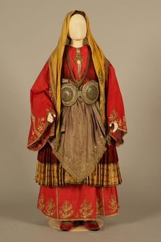 "Greece, bridal costume with the ""korvétia"" motifs from Trikeri, Magnisia, Thessaly. Early 20th century. Peloponnesian Folklore Foundation, Nafplion"
