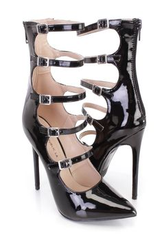 These sexy and stylish single sole strappy heels feature a patent faux leather upper with a strappy design, pointed closed toe, scoop vamp, straps with buckle accents, back zipper closure, smooth lining, and cushioned footbed. Approximately 4 3/4 inch heels.http://www.amiclubwear.com/shoes.html
