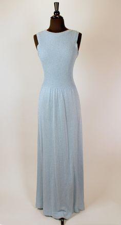 Vintage 1970s Dusty Pale Blue Slinky Micro Boucle Skinny Rib Knit Maxi Dress Simple & Elegant Body Con