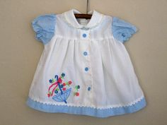 Sweet vintage blue gingham checked baby dress.