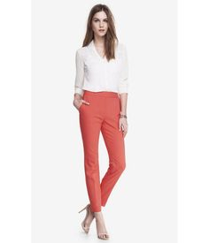 . An Envious Silhouette In A Double Weave Construction For A Pant That Will Last A Long Way Up Your Career Ladder Climb. The Skinny Leg And High Rise Waist Will Elongate Your Bottom Half And Can Easily Be Turned Sexy For Happy Hour. Hello, Crop Top. Womens Pants