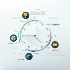 modern infographic timeline with creative minimal clock for 12 steps vector can be used for web design andworkflow layout incl