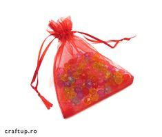 Săculeți organza dreptunghiulari 9x12cm (100 buc) - Roșu