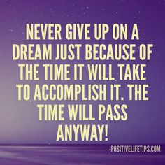 Never give up on a dream just because of the time it will take to accomplish it. The time will pass anyway!